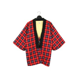 Back to Green :: 袢 day Japan home cotton jacket shop cotton red and blue Plaid inside light yellow / unisex / vintage (BT-15)
