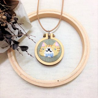 Mini Hand Embroidery - Orange Tabby Cat Necklace