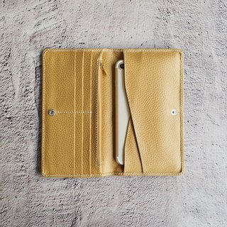 Litchi pattern leather zipper long clip - Camel Yellow (6 cards) Passport folder phone case long banknote wallet