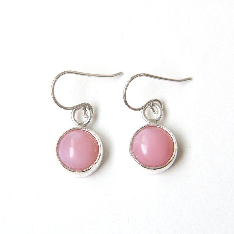 粉紅蛋白石純銀耳環 Pink opal silver earrings