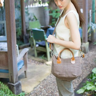Cross-body Sweet Journey Bags S size Botanical Dyed Cotton Brown Color