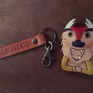 Cute dragon pure leather key ring - can be lettering (Valentine, birthday gifts)