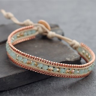 Chalcedony Faceted Bracelets Rose Gold Beaded Glam