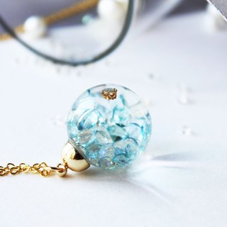 * Rosy Garden * Shiny clear blue crystals water inside glass ball necklace