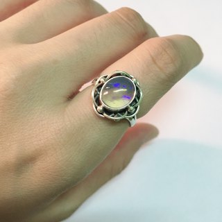 Opal Ring Flower design Handmade in Nepal 92.5% silver
