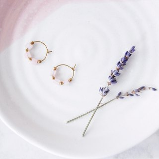 Simple geometry. Small circle pink crystal brass earrings sisters close friends Mother's Day gift