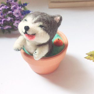 [bubble soup pottery] wool felt animal soup pot _ orange soup can add note clips