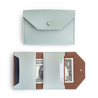 Funnymade adult imitation leather folding business card ticket holder - mint green ash, FNM35116