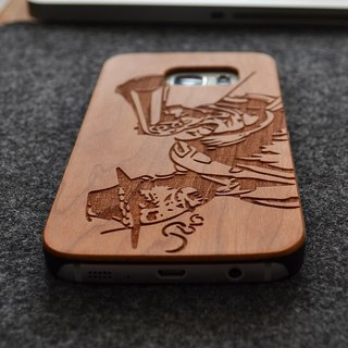 Customized cowboy personalized laser engraving Samsung S5 / S6 / S7 / S6 edge / S7 edge pure natural wood + green frosted plastic phone shell