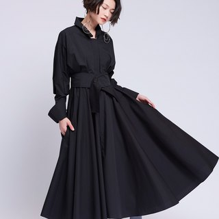 [Contactee] Wavy black dress -2017 autumn and winter limited edition during the new original women's clothing