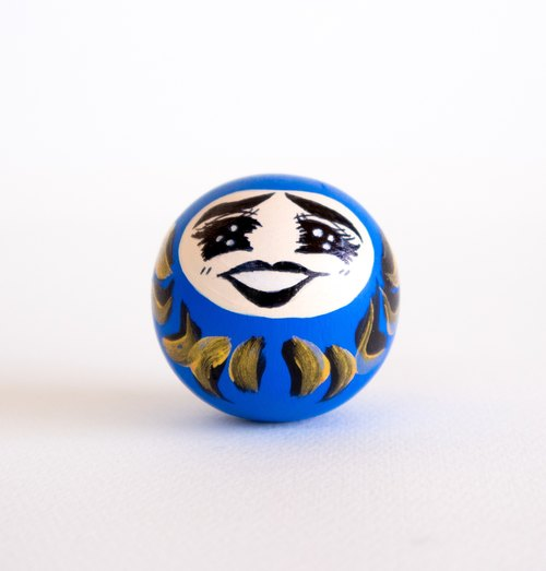 Roly poly Daruma doll. Blue Daruma in Manga style - Bring Good Luck in work and school.Unique gift in Japanese style.