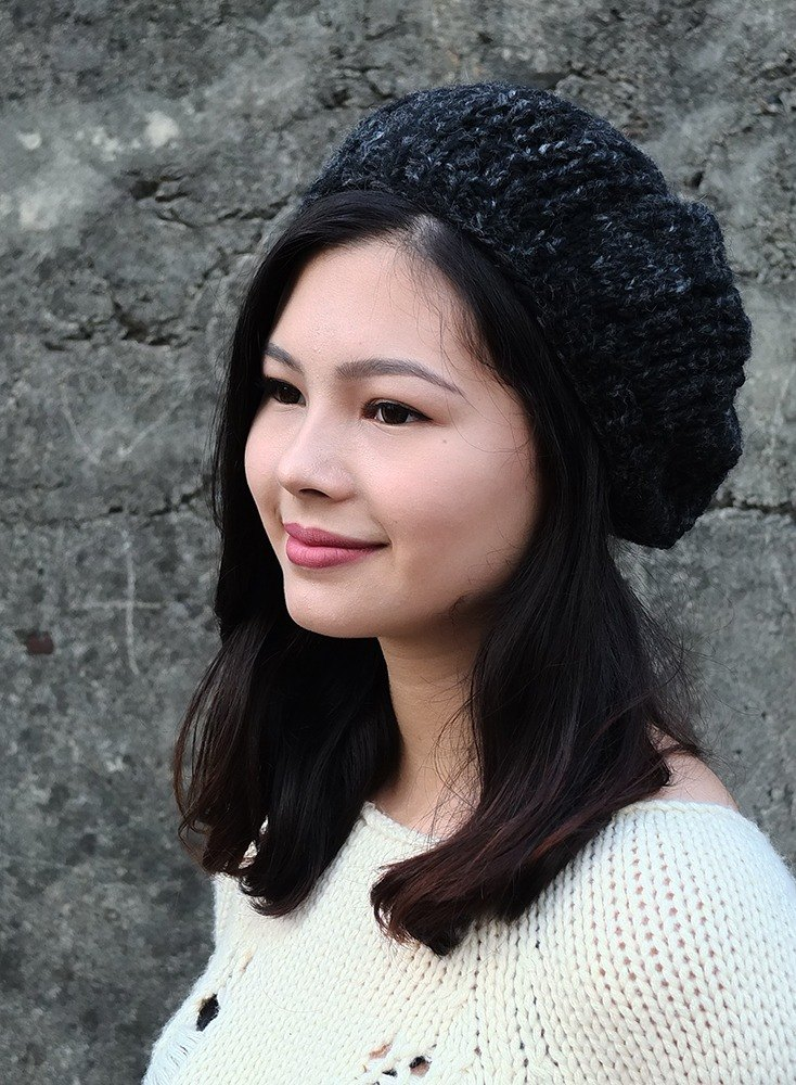 【Grooving the beatsHandmade Hand Knit Wool Beanie Hat, Beret Women