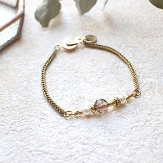 Light brown-Smoky crystal brass bracelet
