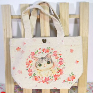 Sakura 喵喵 canvas tote / lunch bag (with button)