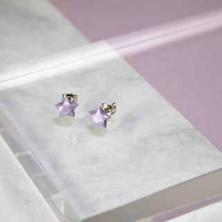 Cute Little Lavender Purple Lucky Star Handmade Earrings