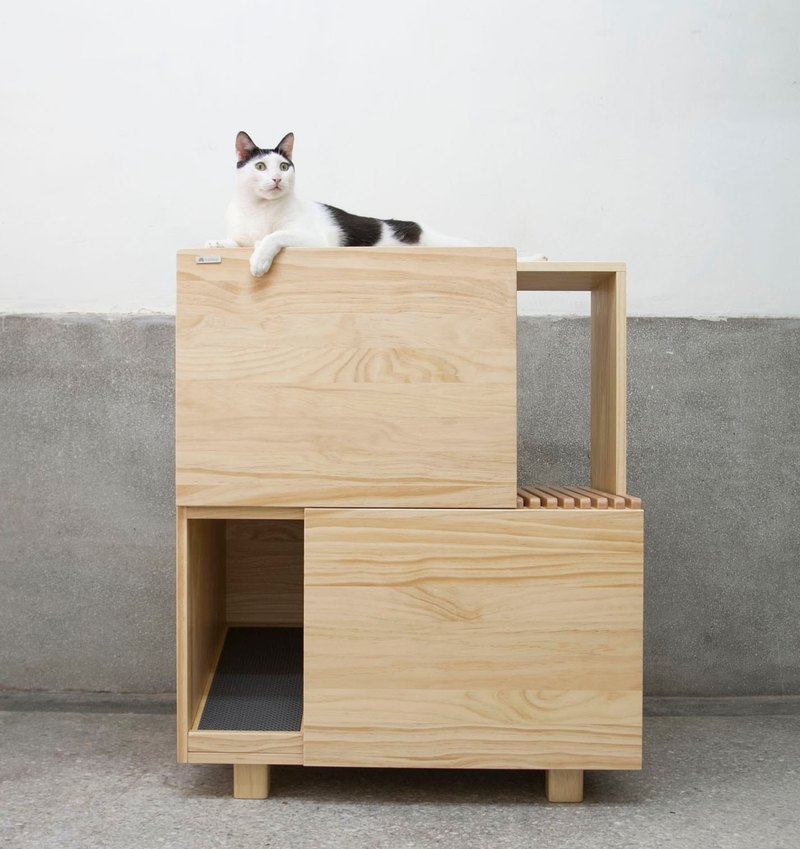 [初木] double cat litter cabinet - cat toilet plus cat jumping platform