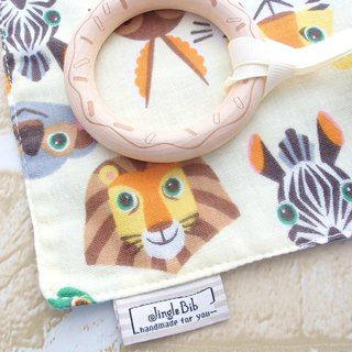 Baby Teething Blanket, Rattle Teether, Wooden Toy, Japanese Cotton, Animal Cream
