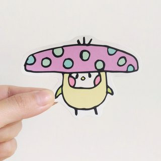 Purple umbrella mushroom illustration sticker
