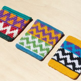 Hand crochet purse / wallet / money clip - Ethnic geometric style sun rays