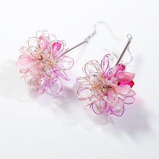 Flower Ball Transparent Pink Handmade Jewelry Earrings Pair