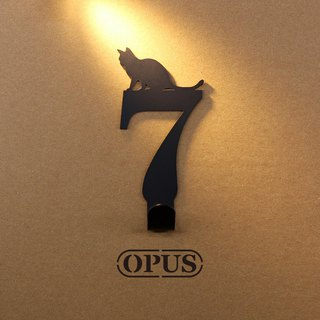 [OPUS Dongqi Metalworking] When the cat meets the number 7 - hook (black) / wall hanging hook / storage without trace