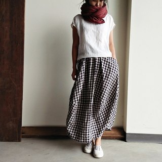 Micro 澎 wide skirt linen rice bottom black plaid / rice bottom blue plaid