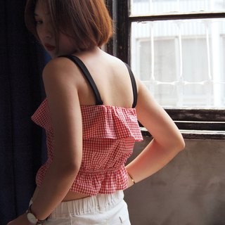 Short version of the hem vest // red picnic