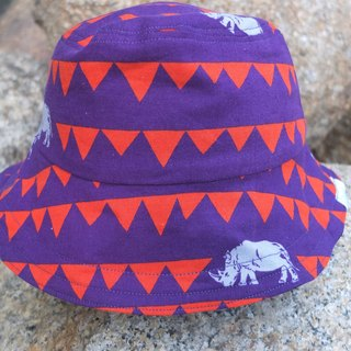 Reversible bucket hat- Rhino vs inverted triangle  s-m