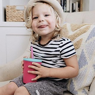 United States silikids Jelly Tableware 【TOGO Silicone Environmental Straw Cup Set 12oz】Peach Pink