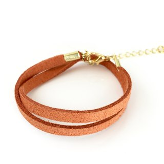 Orange - suede roping bracelet (also can be used as a necklace)