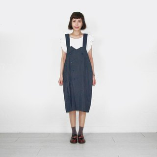 Blue fine straight vintage camisole long skirt BL6008