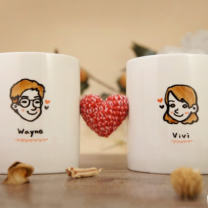 Valentine's Cup _Customized Q version portrait _ to the cup / mug (lover / anniversary / wedding)