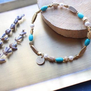 Island dream-Turquoise brass bracelet