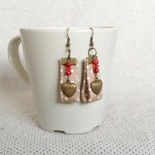 Polka dot fabric Earrings brass heart