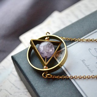 Triangle Geometric with Amethyst crystal surgical steel necklace