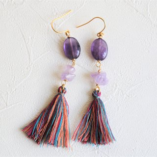 Amethyst dangle earrings - 18k gold plated earrings - tassel earrings