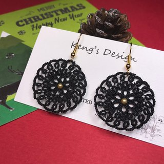 Dreamcatcher earrings (black color) / tatted lace / gift / Swarovski crystal pearl/ customize