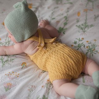 Caterpillar Handmade Limited Jumpsuit / Mi Yue, Baby Photo / Premium Pima Organic Cotton