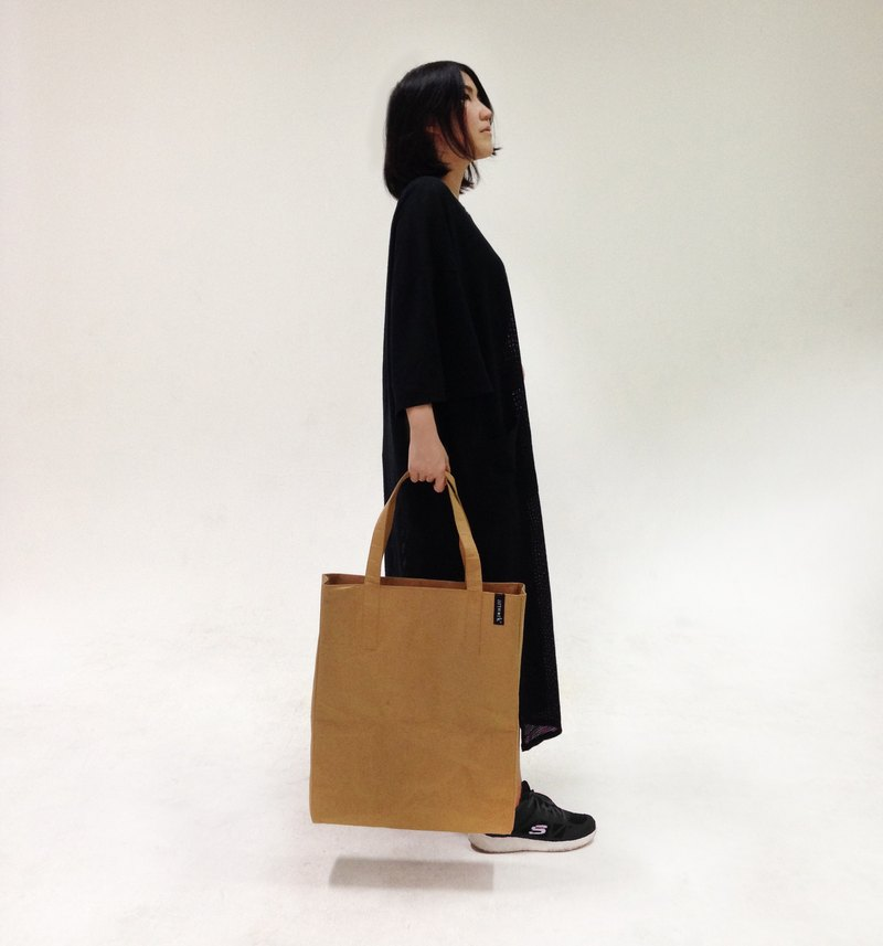 ARTWORK ORIGINAL BROWN   washable kraft paper tote bag with tyvek lining -  Designer ARTWORK BY POM  40ef9e230ea92