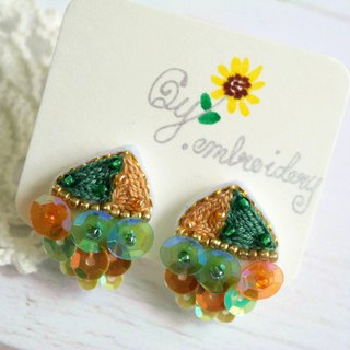 Qy.embroidery candy contrast color embroidery hand made earrings ear clip triangle green and orange