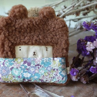 Doll Bunny Purse - Warm Brown Hair - Blue Flowers