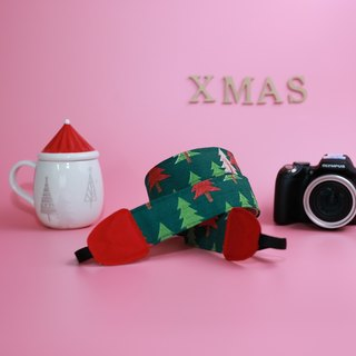 Pu.sozo fabric hand-made red and green forest double strap hole camera / camera straps / camera rope / camera / camera