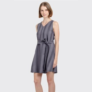 Flared Striped Dress (Grey)