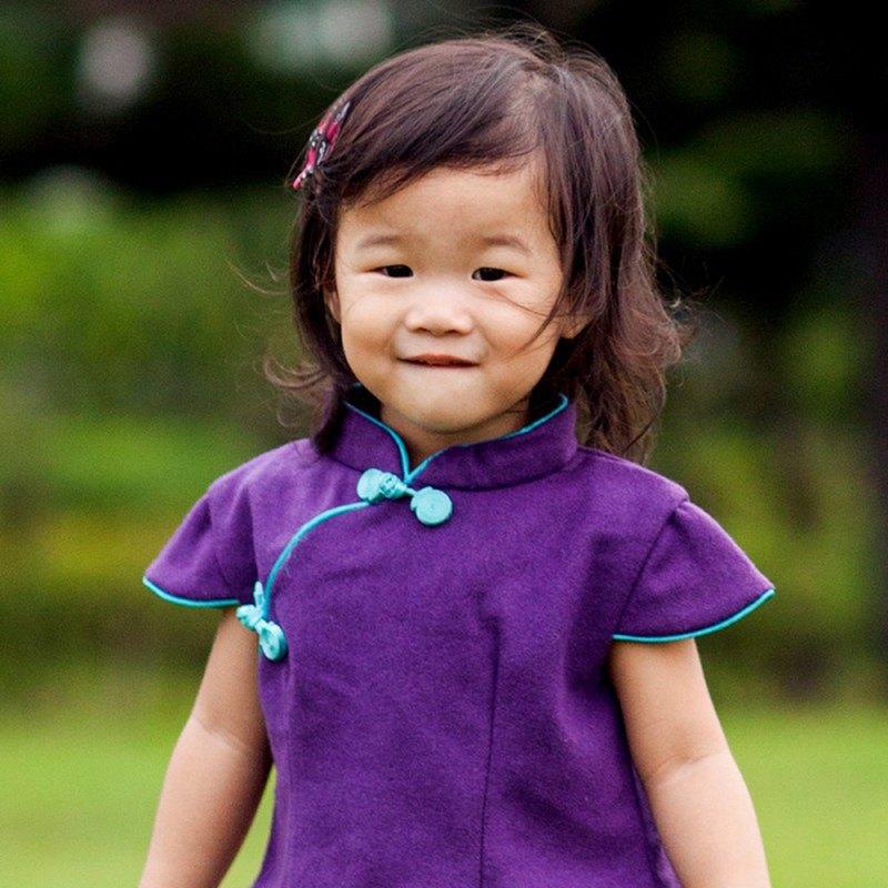 兒童旗袍 古風 冬季款 短袖素面款(紫色)