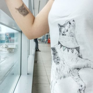 adc|party animals|tee|t-shirt|cat|white|ladies