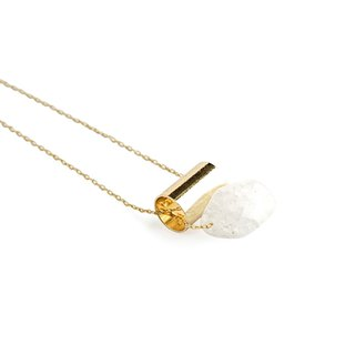 Crack crystal tube short necklace - golden