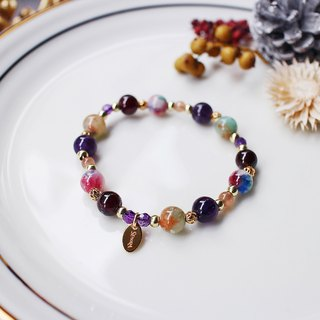 <Slow and warm natural stone series>C1155 Amethyst red pomegranate bracelet