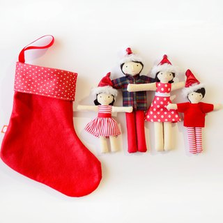 Family of dolls dressed for Christmas. Christmas toy. Perfect gift or Decoration