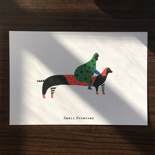 Small Potatoes Postcards / Dachshund / Shadowless man