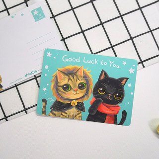Beautiful lettuce cat postcard <Good Luck to You.>